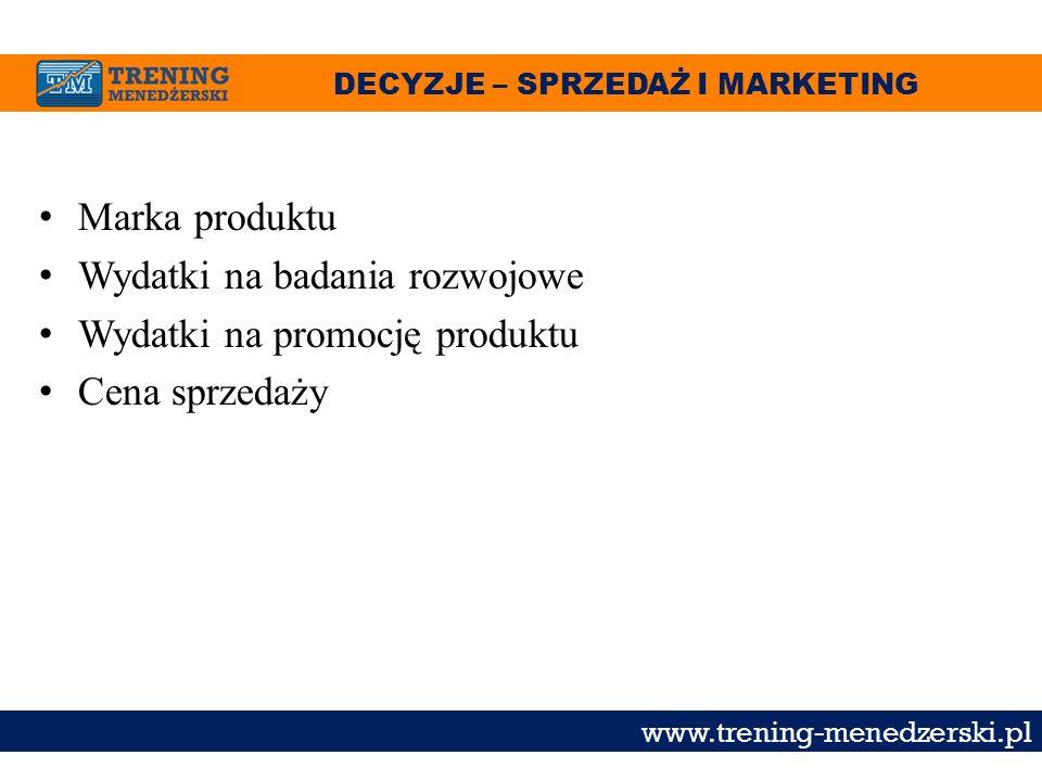 DECYZJE – SPRZEDAŻ I MARKETING www.trening-menedzerski.pl Marka produktu Wydatki na badania rozwojowe Wydatki na promocję produktu Cena sprzedaży