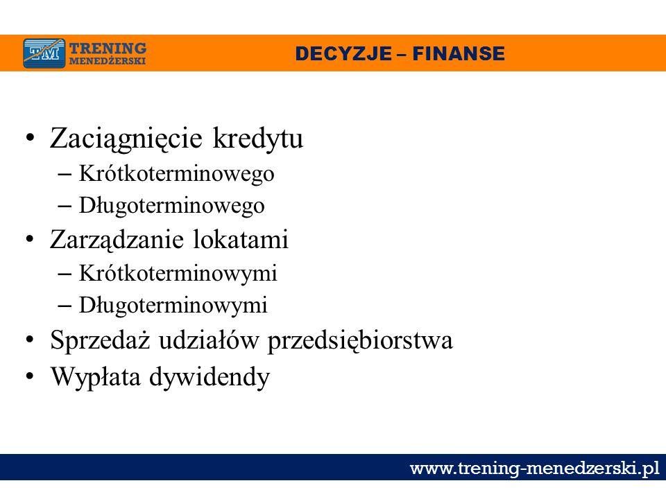 DECYZJE – FINANSE www.trening-menedzerski.pl Zaciągnięcie kredytu – Krótkoterminowego – Długoterminowego Zarządzanie lokatami – Krótkoterminowymi – Dł