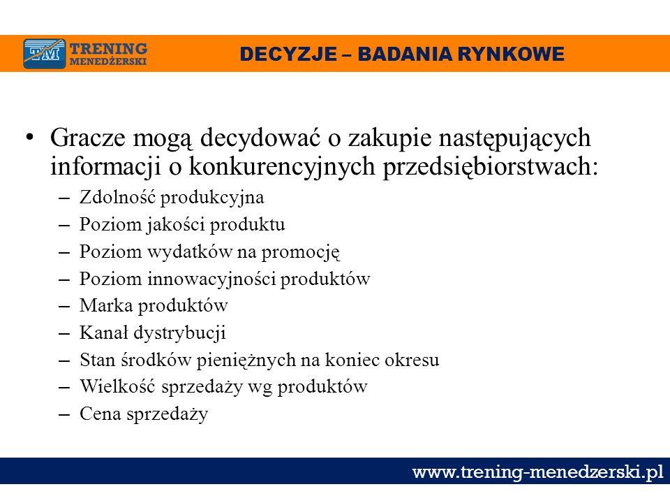 DECYZJE – BADANIA RYNKOWE www.trening-menedzerski.pl Gracze mogą decydować o zakupie następujących informacji o konkurencyjnych przedsiębiorstwach: –