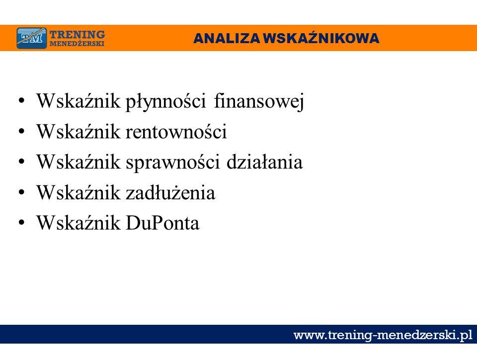 ANALIZA WSKAŹNIKOWA www.trening-menedzerski.pl Wskaźnik płynności finansowej Wskaźnik rentowności Wskaźnik sprawności działania Wskaźnik zadłużenia Ws