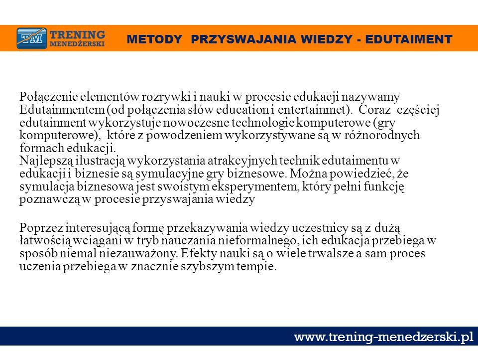 METODY PRZYSWAJANIA WIEDZY - EDUTAIMENT www.trening-menedzerski.pl Połączenie elementów rozrywki i nauki w procesie edukacji nazywamy Edutainmentem (o