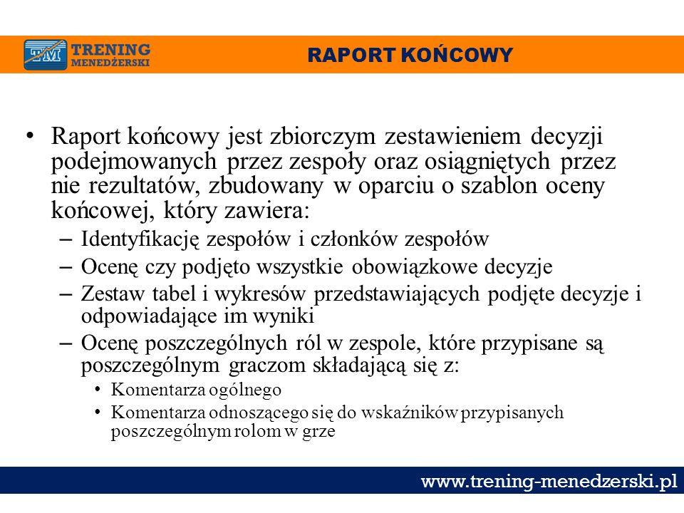 RAPORT KOŃCOWY www.trening-menedzerski.pl Raport końcowy jest zbiorczym zestawieniem decyzji podejmowanych przez zespoły oraz osiągniętych przez nie r
