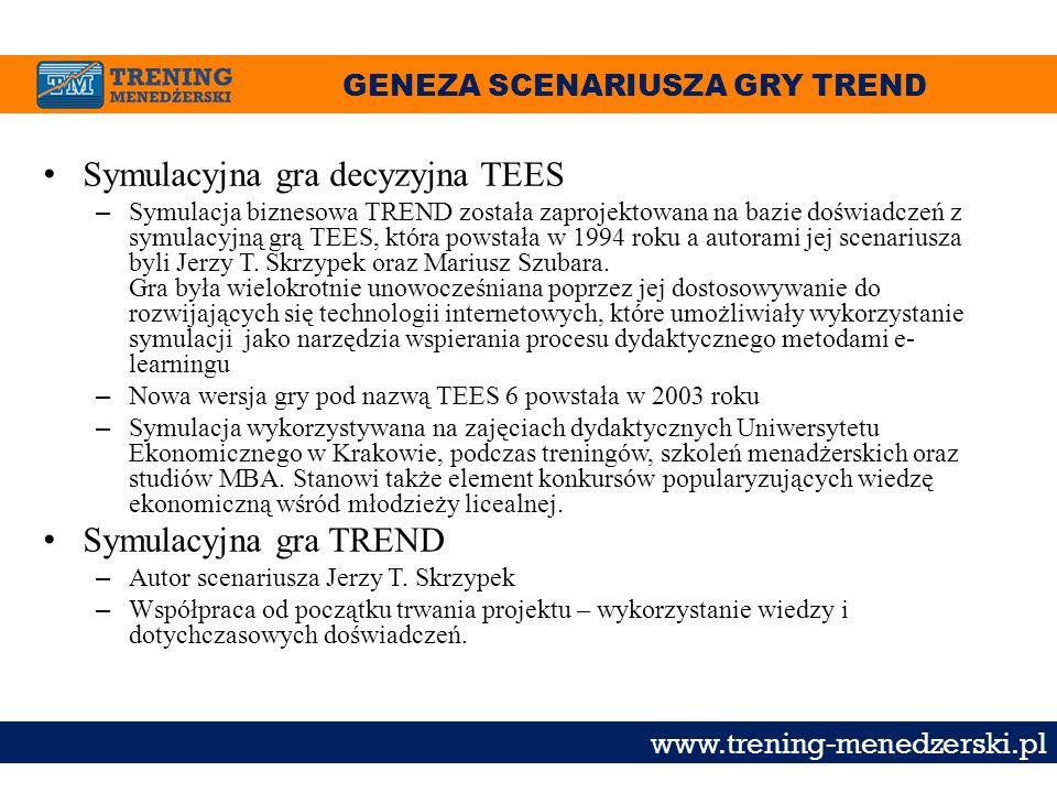 GENEZA SCENARIUSZA GRY TREND www.trening-menedzerski.pl Symulacyjna gra decyzyjna TEES – Symulacja biznesowa TREND została zaprojektowana na bazie doś