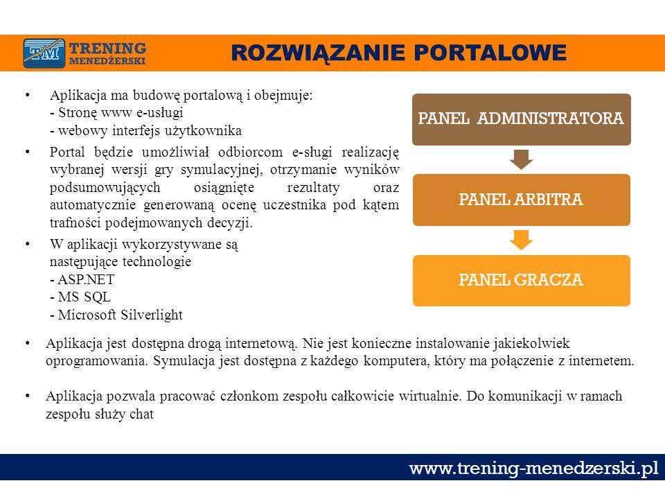 ROZWIĄZANIE PORTALOWE www.trening-menedzerski.pl Aplikacja ma budowę portalową i obejmuje: - Stronę www e-usługi - webowy interfejs użytkownika Portal
