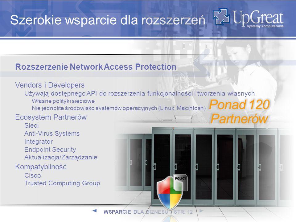 WSPARCIE DLA BIZNESU / STR. 12 Szerokie wsparcie dla rozszerzeń Rozszerzenie Network Access Protection Vendors i Developers Używają dostępnego API do