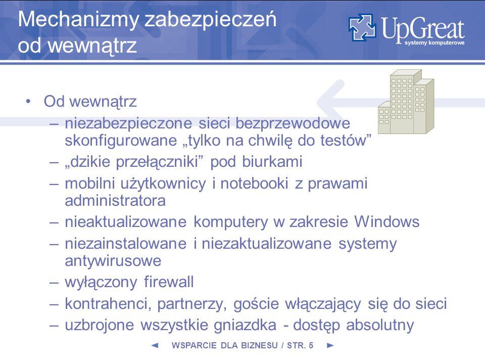WSPARCIE DLA BIZNESU / STR. 5 Mechanizmy zabezpieczeń od wewnątrz Od wewnątrz –niezabezpieczone sieci bezprzewodowe skonfigurowane tylko na chwilę do