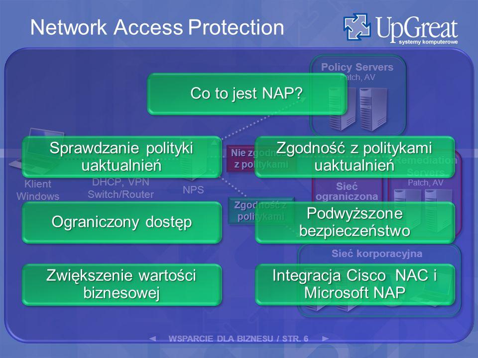 WSPARCIE DLA BIZNESU / STR. 6 Remediation Servers Patch, AV Sieć ograniczona Klient Windows Zgodność z politykami NPS DHCP, VPN Switch/Router Policy S