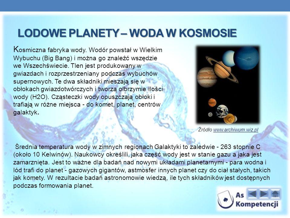 LODOWE PLANETY – WODA W KOSMOSIE K osmiczna fabryka wody.
