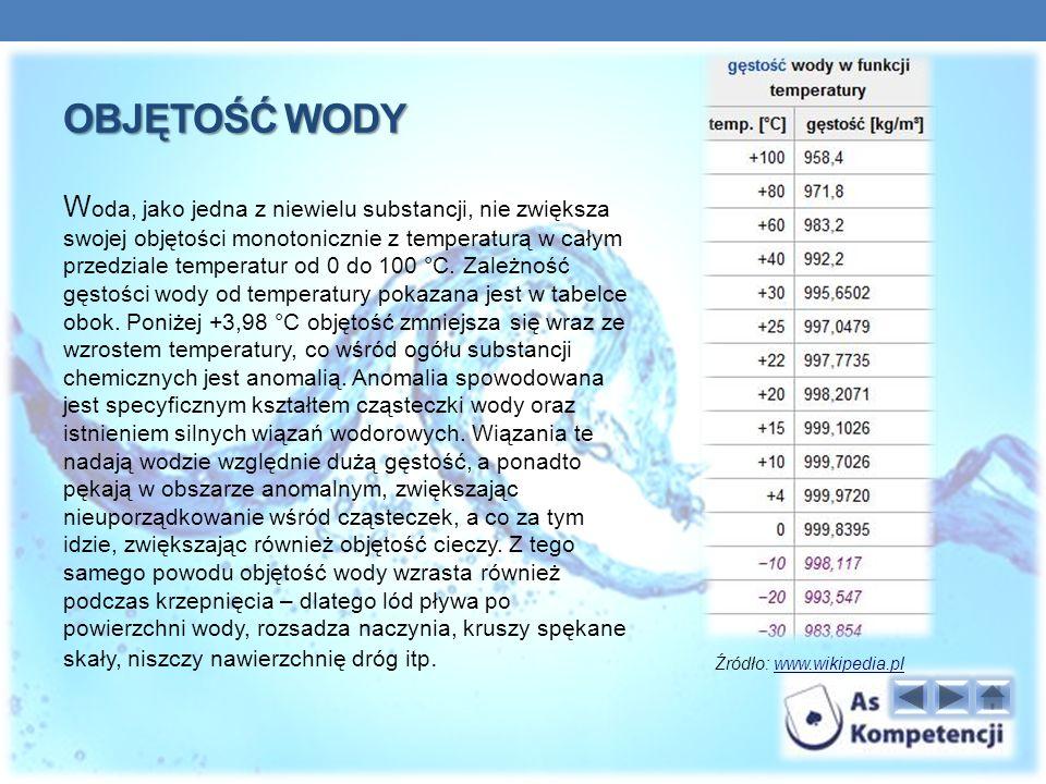 OBJĘTOŚĆ WODY W oda, jako jedna z niewielu substancji, nie zwiększa swojej objętości monotonicznie z temperaturą w całym przedziale temperatur od 0 do 100 °C.