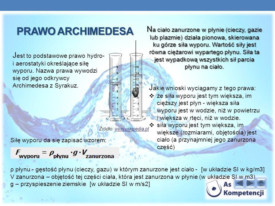 PRAWO ARCHIMEDESA J est to podstawowe prawo hydro- i aerostatyki określające siłę wyporu.