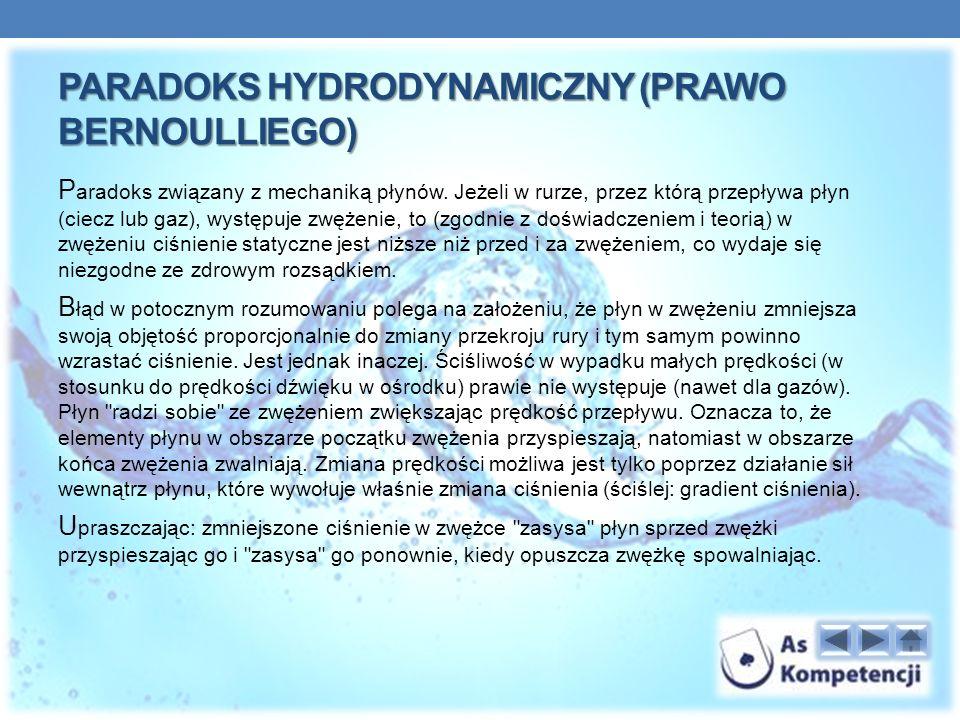 PARADOKS HYDRODYNAMICZNY (PRAWO BERNOULLIEGO) P aradoks związany z mechaniką płynów.