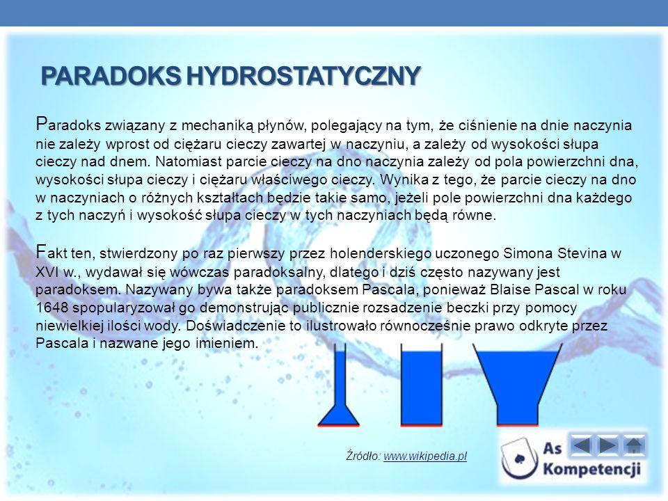 PARADOKS HYDROSTATYCZNY P aradoks związany z mechaniką płynów, polegający na tym, że ciśnienie na dnie naczynia nie zależy wprost od ciężaru cieczy zawartej w naczyniu, a zależy od wysokości słupa cieczy nad dnem.