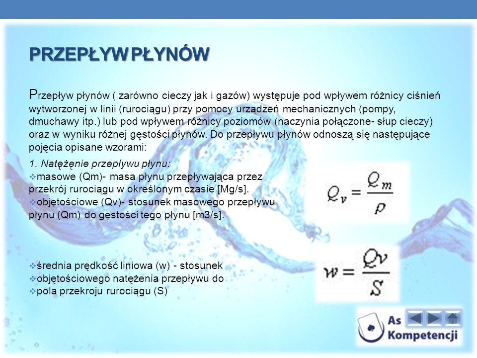 PRZEPŁYW PŁYNÓW P rzepływ płynów ( zarówno cieczy jak i gazów) występuje pod wpływem różnicy ciśnień wytworzonej w linii (rurociągu) przy pomocy urządzeń mechanicznych (pompy, dmuchawy itp.) lub pod wpływem różnicy poziomów (naczynia połączone- słup cieczy) oraz w wyniku różnej gęstości płynów.