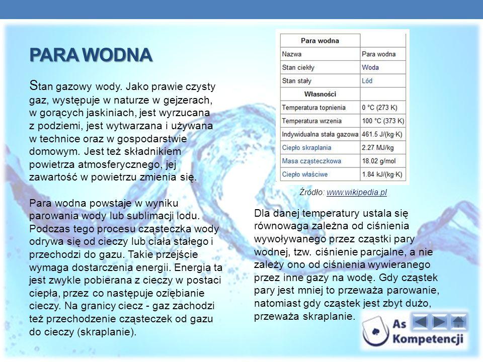 PARA WODNA S tan gazowy wody.