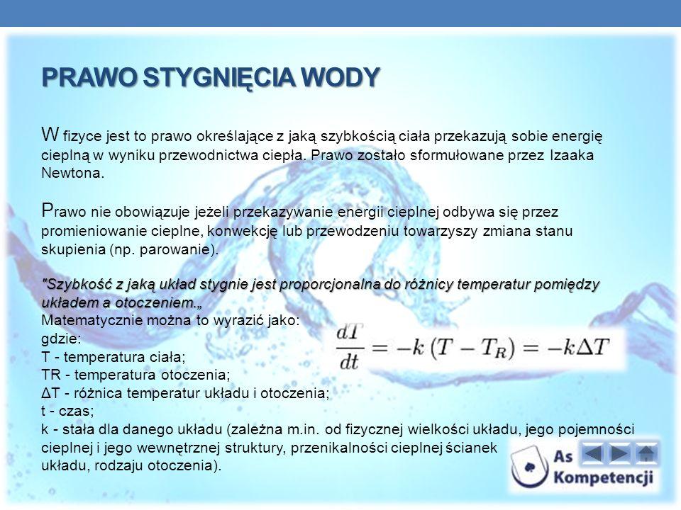 PRAWO STYGNIĘCIA WODY W fizyce jest to prawo określające z jaką szybkością ciała przekazują sobie energię cieplną w wyniku przewodnictwa ciepła.