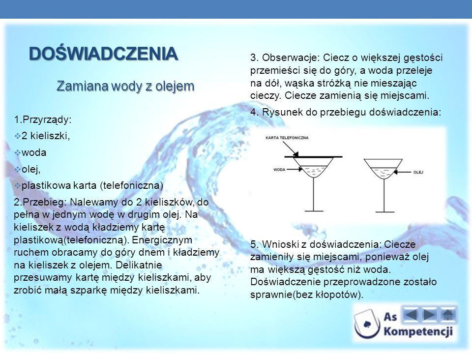 DOŚWIADCZENIA Zamiana wody z olejem 1.Przyrządy: 2 kieliszki, woda olej, plastikowa karta (telefoniczna) 2.Przebieg: Nalewamy do 2 kieliszków, do pełna w jednym wodę w drugim olej.