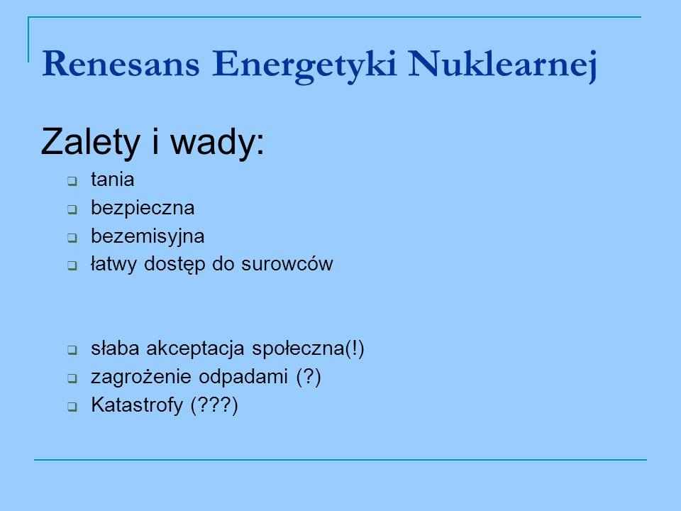 Renesans Energetyki Nuklearnej Zalety i wady: tania bezpieczna bezemisyjna łatwy dostęp do surowców słaba akceptacja społeczna(!) zagrożenie odpadami (?) Katastrofy (???)
