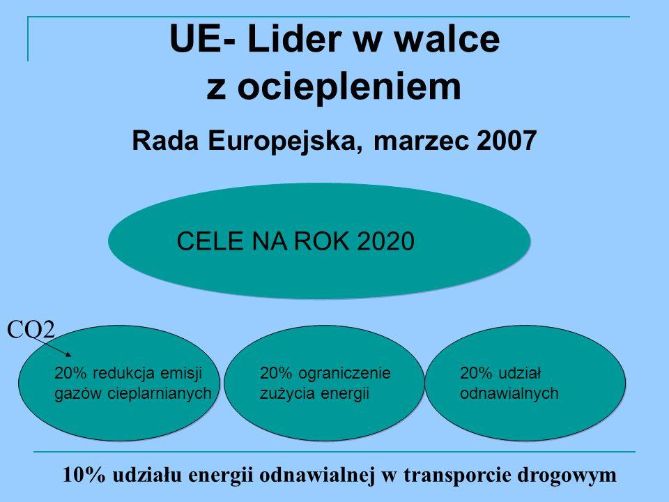 UE- Lider w walce z ociepleniem Rada Europejska, marzec 2007 20% udział odnawialnych 20% udział odnawialnych CELE NA ROK 2020 20% ograniczenie zużycia energii 20% ograniczenie zużycia energii 20% redukcja emisji gazów cieplarnianych 20% redukcja emisji gazów cieplarnianych CO2 10% udziału energii odnawialnej w transporcie drogowym