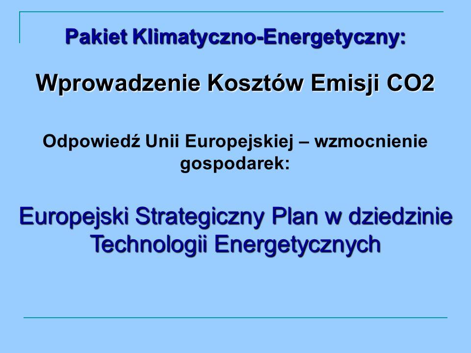 Wprowadzenie Kosztów Emisji CO2 Odpowiedź Unii Europejskiej – wzmocnienie gospodarek: Europejski Strategiczny Plan w dziedzinie Technologii Energetycznych Pakiet Klimatyczno-Energetyczny: