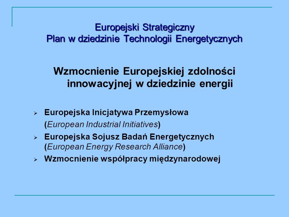 Europejski Strategiczny Plan w dziedzinie Technologii Energetycznych Wzmocnienie Europejskiej zdolności innowacyjnej w dziedzinie energii Europejska Inicjatywa Przemysłowa (European Industrial Initiatives) Europejska Sojusz Badań Energetycznych (European Energy Research Alliance) Wzmocnienie współpracy międzynarodowej