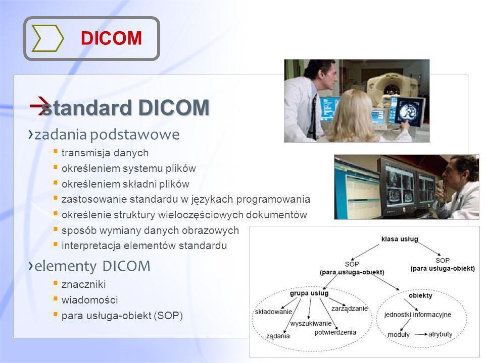 DICOM à standard DICOM zadania podstawowe transmisja danych określeniem systemu plików określeniem składni plików zastosowanie standardu w językach pr