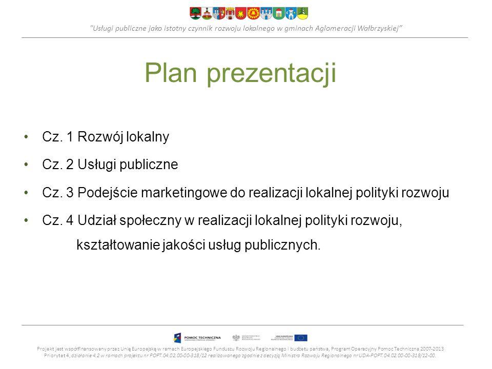 Usługi publiczne jako istotny czynnik rozwoju lokalnego w gminach Aglomeracji Wałbrzyskiej Rozwój lokalny Rozwój lokalny - proces pozytywnych zmian (wzrostu ilościowego i postępu jakościowego) zachodzących na danym – stosunkowo niewielkim –obszarze, z uwzględnieniem potrzeb, preferencji i hierarchii wartości właściwych dla tego obszaru.