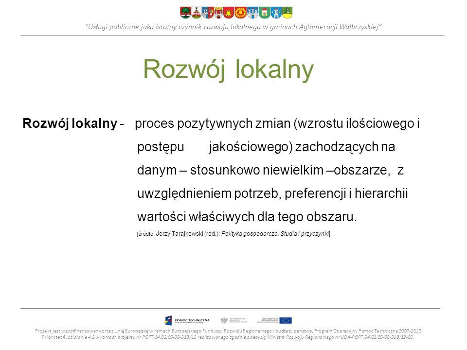 Usługi publiczne jako istotny czynnik rozwoju lokalnego w gminach Aglomeracji Wałbrzyskiej Cele rozwoju społeczno–gosp.