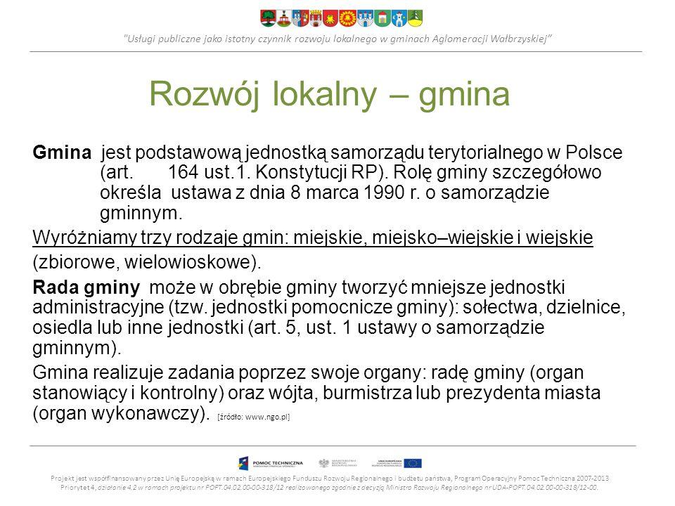 Usługi publiczne jako istotny czynnik rozwoju lokalnego w gminach Aglomeracji Wałbrzyskiej Zadanie publiczne – a usługi publiczne Zadanie publiczne to każde działanie administracji, które realizuje ona na podstawie ustaw.