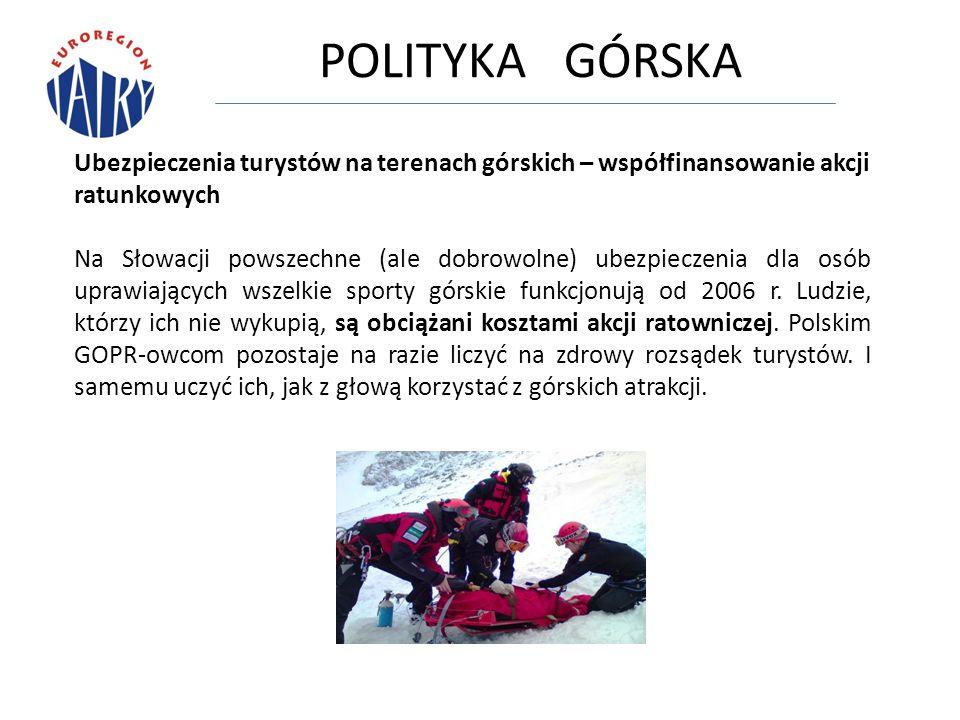 POLITYKA GÓRSKA Ubezpieczenia turystów na terenach górskich – współfinansowanie akcji ratunkowych Na Słowacji powszechne (ale dobrowolne) ubezpieczenia dla osób uprawiających wszelkie sporty górskie funkcjonują od 2006 r.