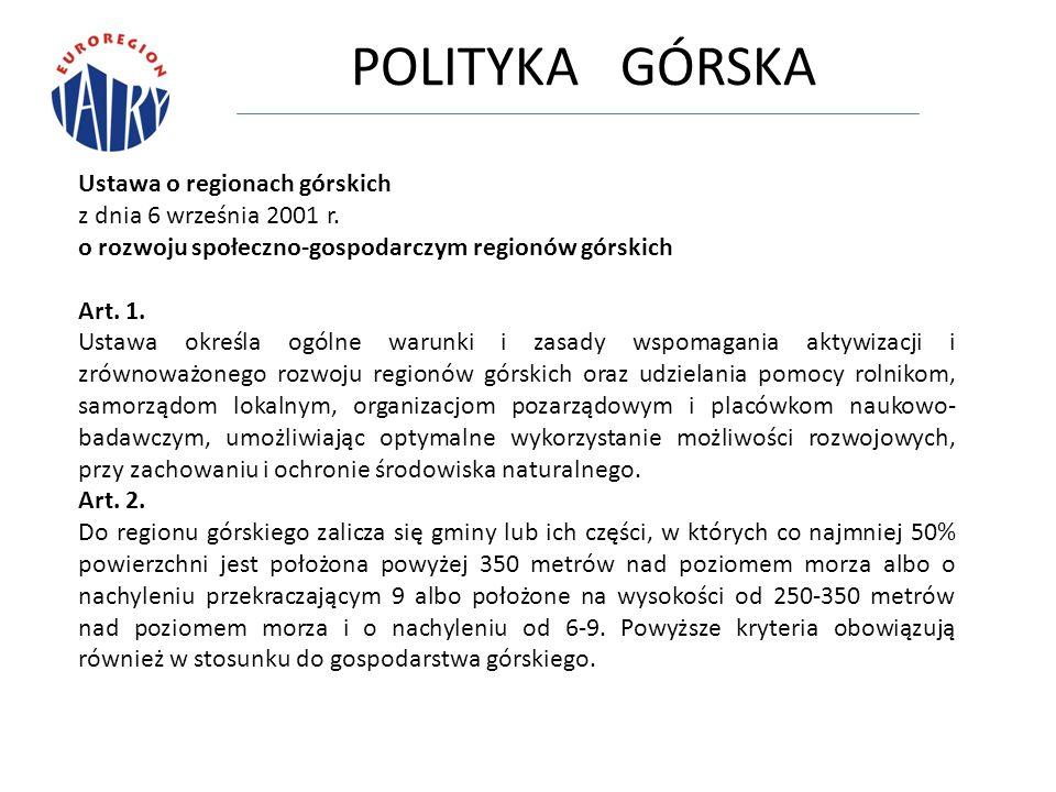 POLITYKA GÓRSKA Ustawa o regionach górskich z dnia 6 września 2001 r.