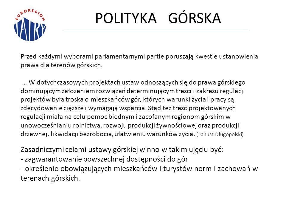 POLITYKA GÓRSKA Przed każdymi wyborami parlamentarnymi partie poruszają kwestie ustanowienia prawa dla terenów górskich.