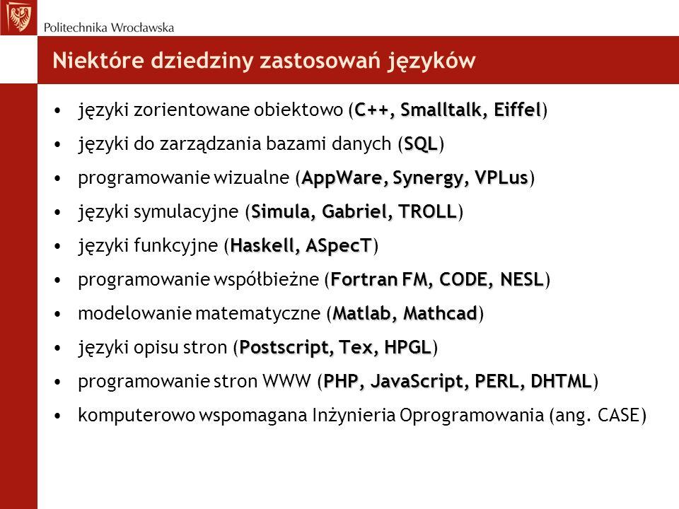 Niektóre dziedziny zastosowań języków C++, Smalltalk, Eiffeljęzyki zorientowane obiektowo (C++, Smalltalk, Eiffel) SQLjęzyki do zarządzania bazami dan