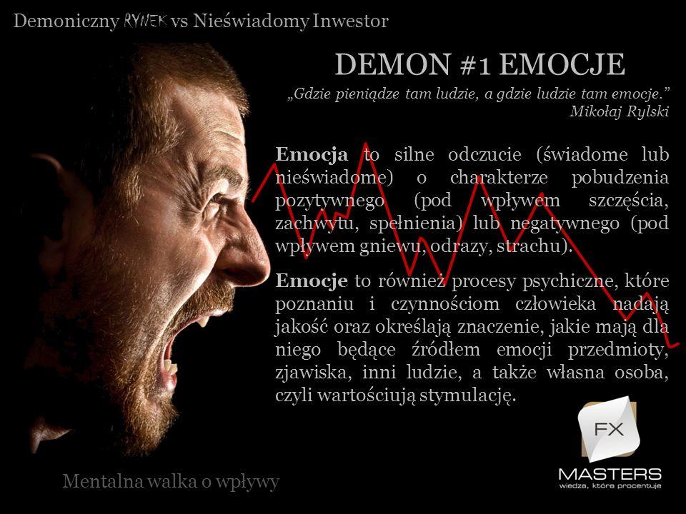 Demoniczny RYNEK vs Nieświadomy Inwestor DEMON #1 EMOCJE Mentalna walka o wpływy Gdzie pieniądze tam ludzie, a gdzie ludzie tam emocje. Mikołaj Rylski