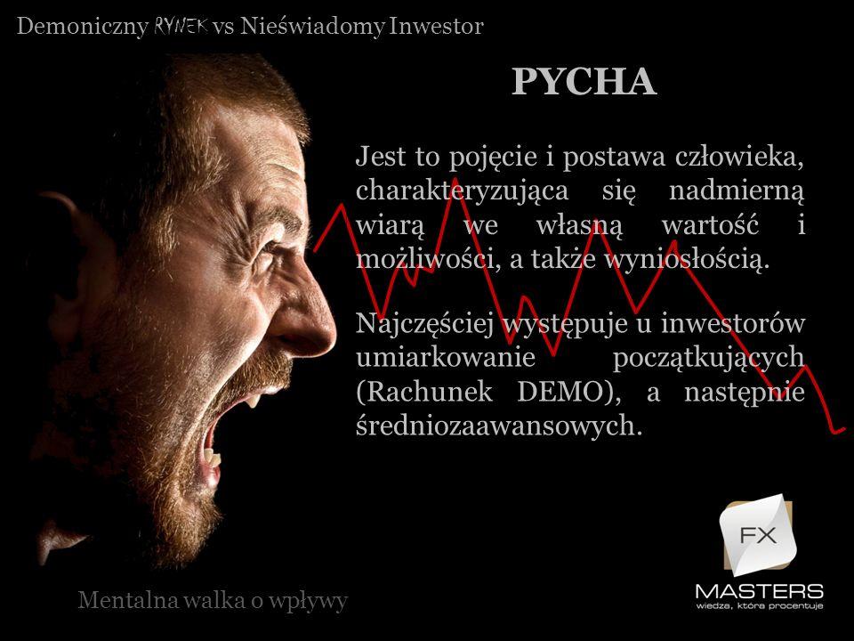 Demoniczny RYNEK vs Nieświadomy Inwestor PYCHA Mentalna walka o wpływy Jest to pojęcie i postawa człowieka, charakteryzująca się nadmierną wiarą we wł
