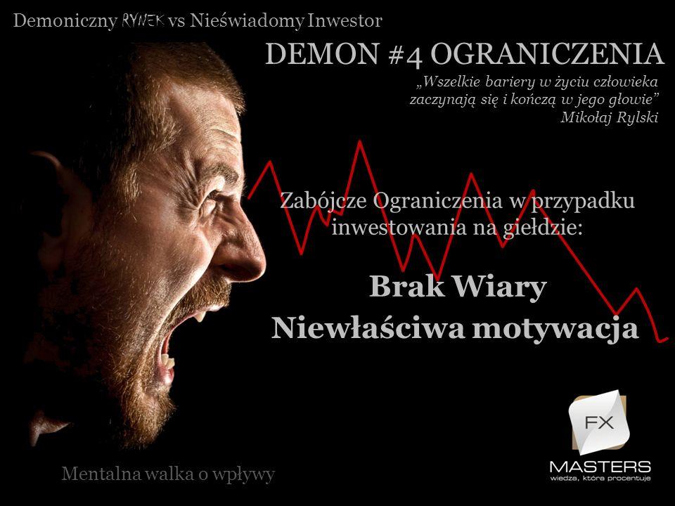 Zabójcze Ograniczenia w przypadku inwestowania na giełdzie: Brak Wiary Demoniczny RYNEK vs Nieświadomy Inwestor DEMON #4 OGRANICZENIA Mentalna walka o