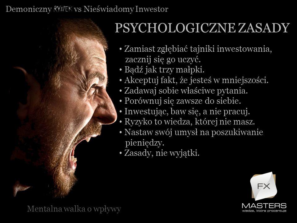 Demoniczny RYNEK vs Nieświadomy Inwestor PSYCHOLOGICZNE ZASADY Mentalna walka o wpływy Zamiast zgłębiać tajniki inwestowania, zacznij się go uczyć. Bą