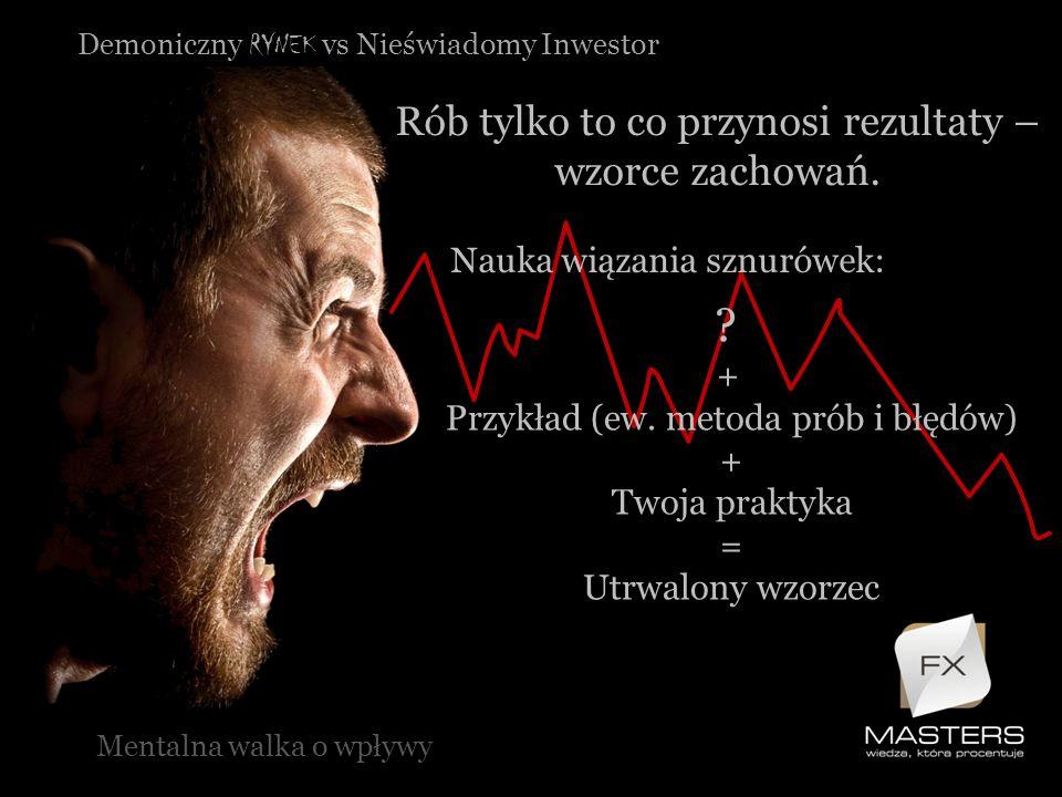 Demoniczny RYNEK vs Nieświadomy Inwestor Rób tylko to co przynosi rezultaty – wzorce zachowań. Mentalna walka o wpływy Nauka wiązania sznurówek: ? + P