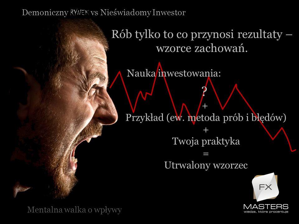 Demoniczny RYNEK vs Nieświadomy Inwestor Rób tylko to co przynosi rezultaty – wzorce zachowań. Mentalna walka o wpływy Nauka inwestowania: ? + Przykła