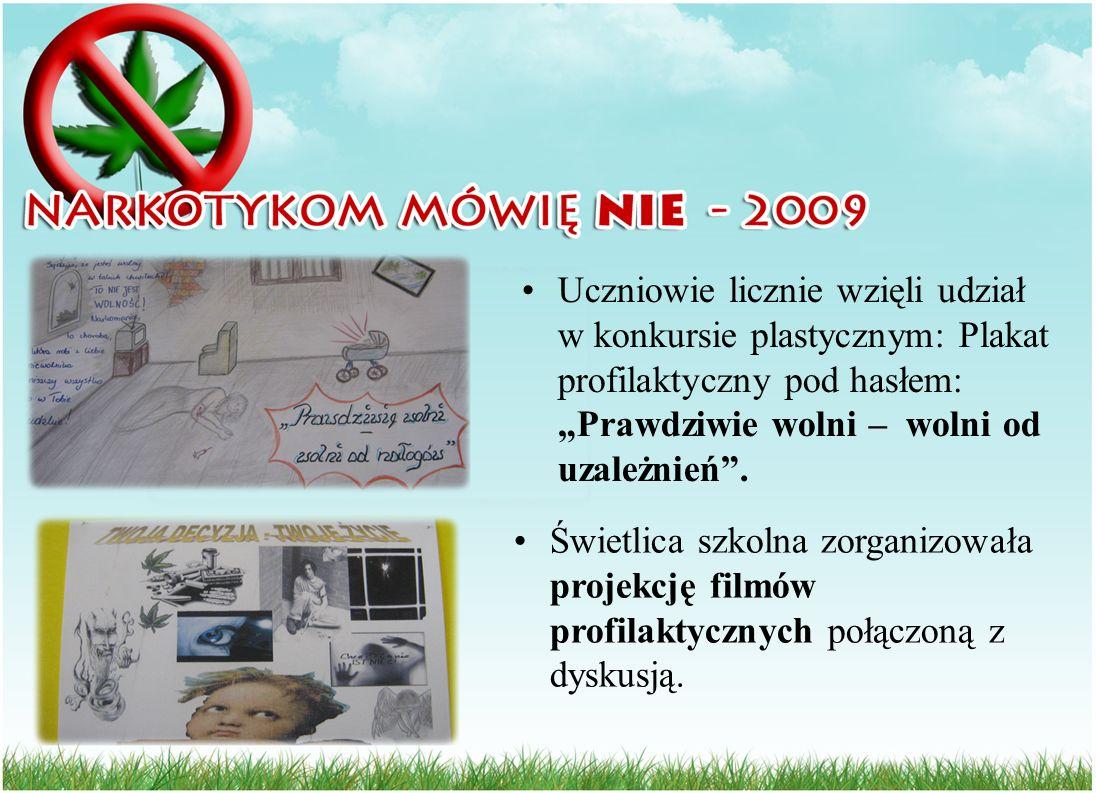 Uczniowie licznie wzięli udział w konkursie plastycznym: Plakat profilaktyczny pod hasłem: Prawdziwie wolni – wolni od uzależnień. Świetlica szkolna z
