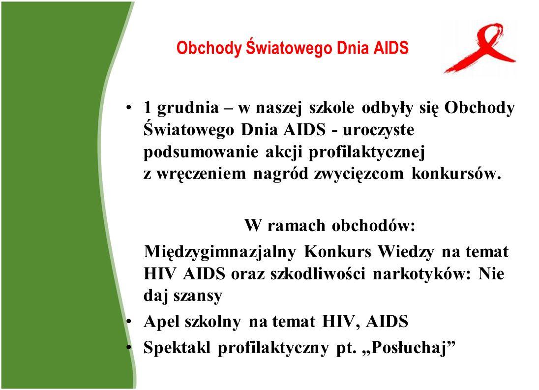 Obchody Światowego Dnia AIDS 1 grudnia – w naszej szkole odbyły się Obchody Światowego Dnia AIDS - uroczyste podsumowanie akcji profilaktycznej z wręc