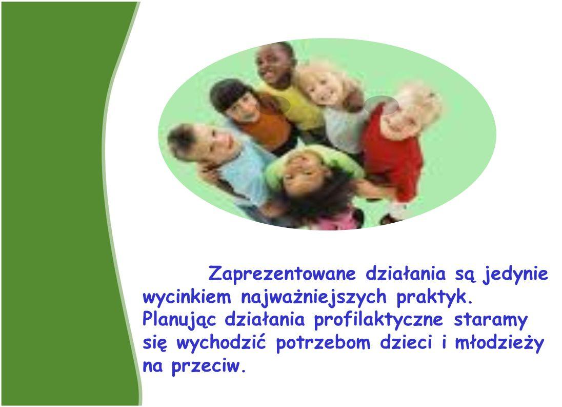 Zaprezentowane działania są jedynie wycinkiem najważniejszych praktyk. Planując działania profilaktyczne staramy się wychodzić potrzebom dzieci i młod