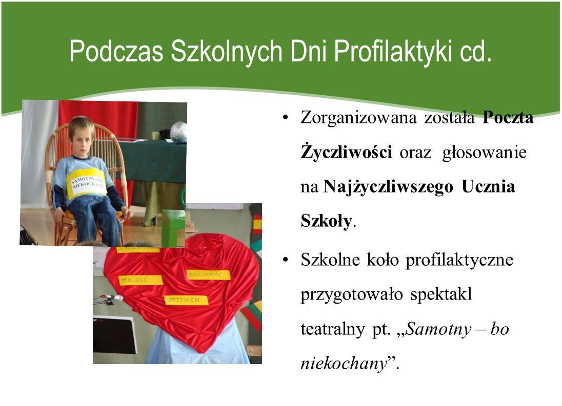 Podczas Szkolnych Dni Profilaktyki cd. Zorganizowana została Poczta Życzliwości oraz głosowanie na Najżyczliwszego Ucznia Szkoły. Szkolne koło profila