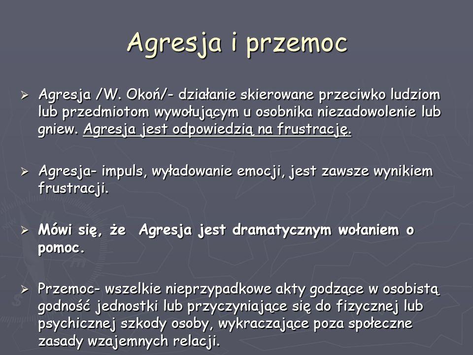 Agresja i przemoc Agresja /W. Okoń/- działanie skierowane przeciwko ludziom lub przedmiotom wywołującym u osobnika niezadowolenie lub gniew. Agresja j