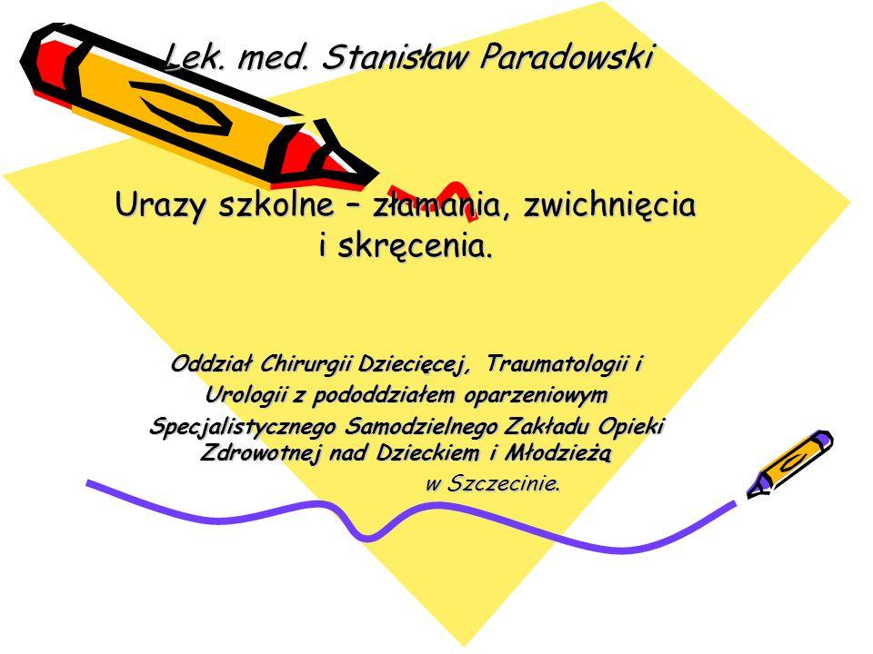 Informacja o wypadkach dzieci i młodzieży w szkołach Rodzaj uszkodzenia ciała Zachodniopomorskie 2003/2004 Szczecin 2003/2004 Szczecin 2004/2005 złama