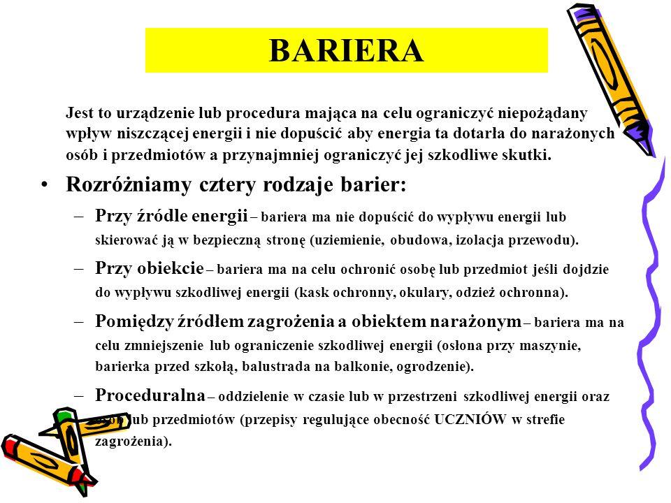 KONCEPCJA BARIER Obiekt Osoba lub przedmiot Zagrożenie Źródło niszczącej energii lub warunki otoczenia BARIERABARIERA
