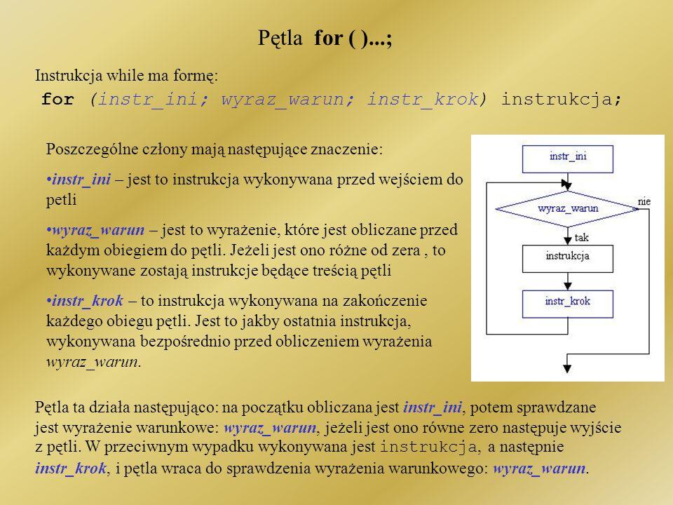 Analiza przykładu Aby skorzystać z funkcji generatora liczb losowych należało dodać bibliotekę: #include //do losowania liczb Instrukcja randomize();