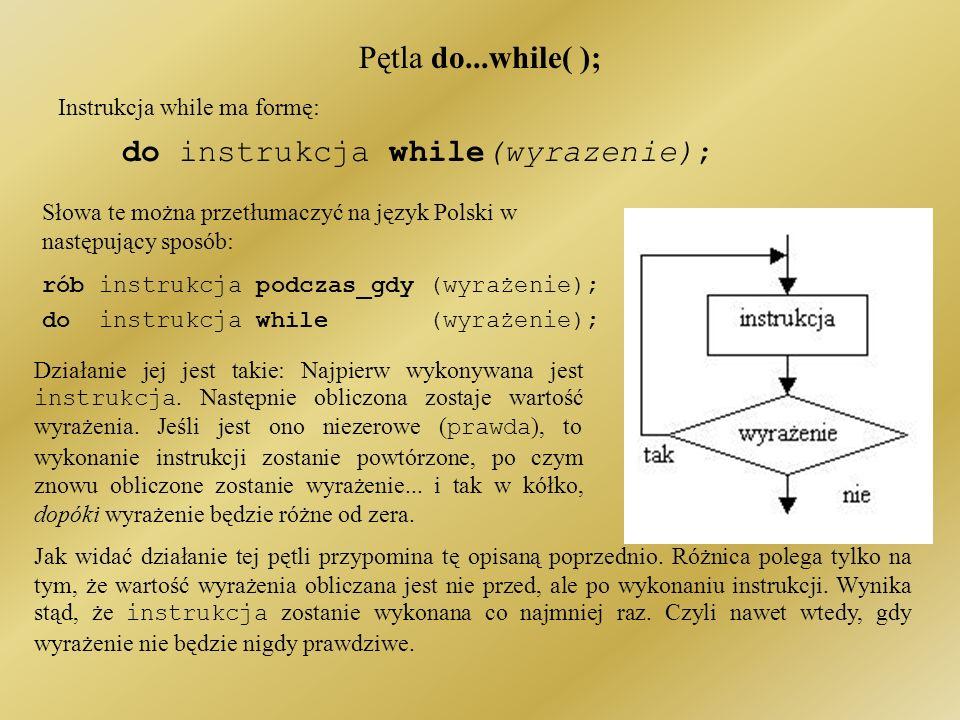 Pętla do...while( ); Instrukcja while ma formę: do instrukcja while(wyrazenie); Działanie jej jest takie: Najpierw wykonywana jest instrukcja.