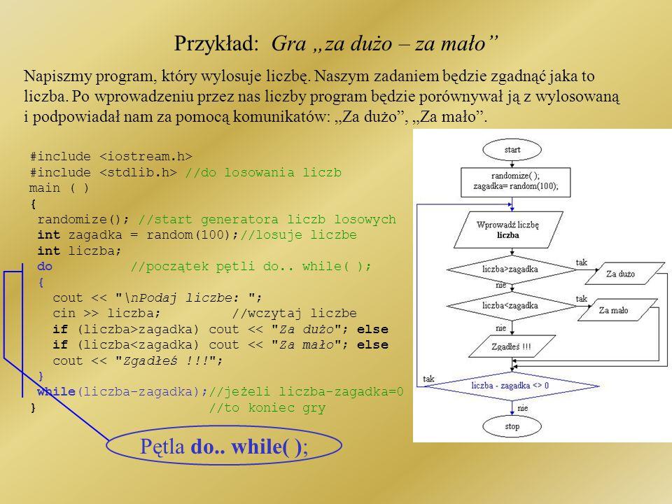 Przykład: Gra za dużo – za mało #include <iostream.h> #include <stdlib.h> //do losowania liczb main ( ) { randomize(); //start generatora liczb losowych int zagadka = random(100);//losuje liczbe int liczba; do //początek pętli do..