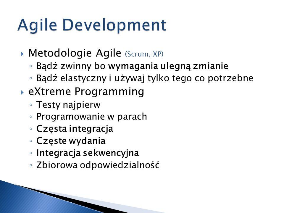 Metodologie Agile Bądź zwinny bo wymagania ulegną zmianie Bądź elastyczny i używaj tylko tego co potrzebne eXtreme Programming Testy najpierw Programo