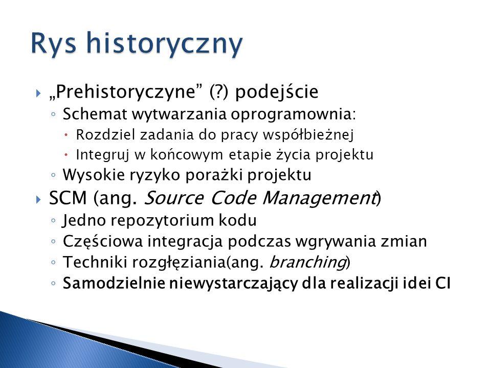 Prehistoryczyne (?) podejście Schemat wytwarzania oprogramownia: Rozdziel zadania do pracy współbieżnej Integruj w końcowym etapie życia projektu Wyso